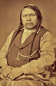 Ouray (aka The Arrow), the son of the Jicarilla Apache man known as Guera Murah, the widower of Black Water and the husband of Chipeta (aka White Singing Bird), in Washington D.C. - Jicarilla Apache/Southern Ute - 1874  {Note: While Ouray's father, Guera Murah, was born Jicarilla Apache, he was adopted as a Ute when he was a boy.}