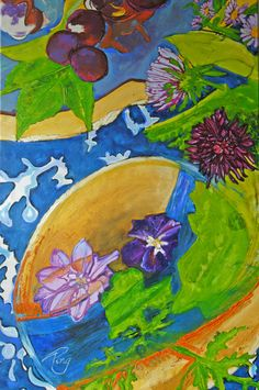 "Schilderij Ping Frederiks, ""Spring is on the tablecloth"" 100x150 cm, olieverf op doek"
