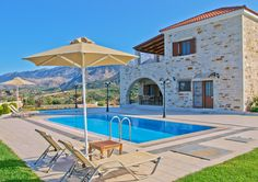 Entering the villa Edem there is the private pool. There, guests can relax and enjoy their bathing, having the breathtaking view to the White Mountains on one side and the enchanting view to Souda bay on the other. For our young friends, the