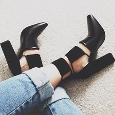 square stacked heels.