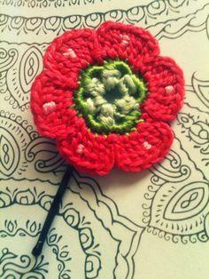 Crochet Daisy Flower Hair Pins Watermelon Polka by CatWomanCrafts, $5.00