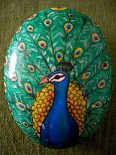 Peacock painted rock