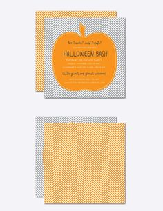 Chevron Pumpkin Halloween Invite. Printables. $8.00