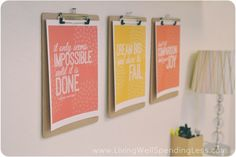 love this! Maybe one over the treadmill so I can change motivational prints