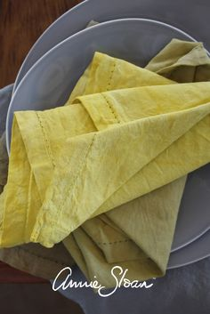 Serviettes dyed using Annie Sloan Chalk Paint - colours used were Olive and English Yellow