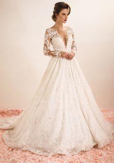 Beaded Illusion Long Sleeve Wedding Dress | Stephen Yearick | http://trib.al/7pBdYUX