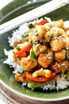 Skinny Honey Coconut Cashew Chicken Stir Fry - in your mouth in 35 minutes with most incredible coconut infused sweet and tangy sauce. Clean Recipes, Real Food Recipes, Chicken Recipes, Cooking Recipes, Cashew Recipes, Shrimp Recipes, Turkey Recipes, Delicious Recipes, Chicken Cashew Stir Fry