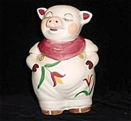 Shawnee Style Smiley Pig w/ Tulips Cookie Jar, he is rare, grab him if you can find him
