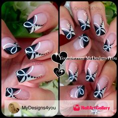 Quick Black And White Nail Art by MyDesigns4you via Nail Art Gallery #nailartgallery #nailart #nails #acrylic #abstract #french #blackandwhite #frenchmanicure #frenchtip #abstractnailart #monochrome #mydesigns4you