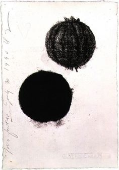 """Donald Sultan    """"Two Fruits July 30 1990""""     Charcoal on paper, 1990."""