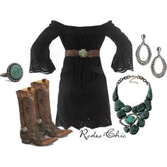 """Stampede"" by rodeo-chic on Polyvore, Old Gringo harness cowboy boots, @oldgringoboots; Necklace off shoulder dress, turquoise jewelry, western"