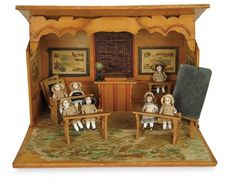 The Memory of All That - Marquis Antique Doll Auction: 38 French Wooden Schoolroom with Seven All-Bisque Students