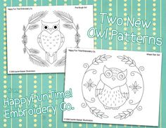 Owls and Wreaths Pattern for Hand Embroidery by americanduchess