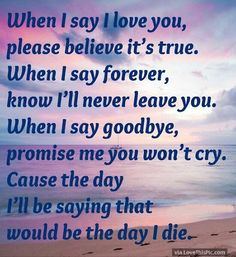 Love quote : Love : When I Say I Love You