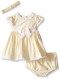Little Me Girls Sunny Dress and Panty with Headband Yellow Stripe 3 Months >>> To view further for this item, visit the image link.