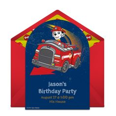Customizable, free PAW Patrol Marshall online invitations. Easy to personalize and send for a PAW Patrol birthday party. #punchbowl