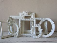 Frame Grouping - Shabby and Chic Style -  Frame set - Childrens decor -Shabby Cottage. $48.00, via Etsy.