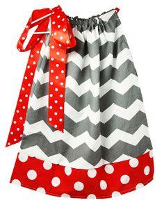 Gray Chevron with Red and White Polka Dot Trim Pillowcase Dress