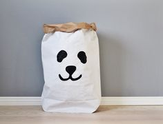 Panda paperbag storage of toys books or teddy bears by Tellkiddo
