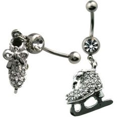 Multi Jewel Ice Skates Dangle Belly Ring Surgical Steel
