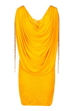 Yellow chatai detail draped dress available only at Pernia's Pop-Up Shop.