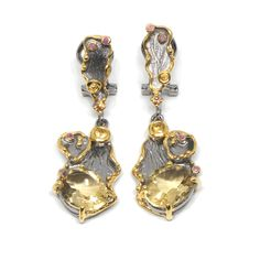Ohrringe mit Citrin Drop Earrings, Jewellery, Fashion, Sapphire, Gold Paint, Beads, Moda, Jewels, Fashion Styles
