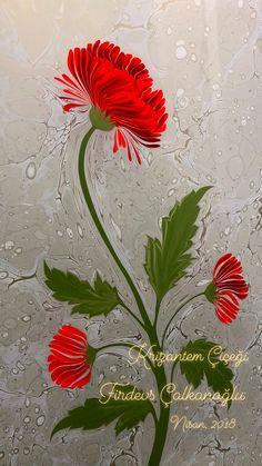 Ebru Sanatı Krizantem Çiçeği - Curly Chrysanthemum Japanese  Marbling Artist Firdevs Çalkanoğlu