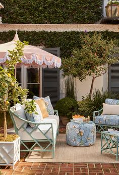 Bask in the sunshine, lounge in the shade,gather beneath the stars with friends:You'll find everything you need right hereto live your style alfresco. Shop our assortment of furniture (living & dining), outdoor rugs, planters, umbrellas, decor and more for creating your own outdoor oasis. # design # entertaining # patio # porch # summertime Outdoor Living Rooms, Outdoor Spaces, Outdoor Decor, Living Furniture, Outdoor Furniture Sets, Umbrella Decorations, Outdoor Retreat, Mediterranean Decor, Craftsman House Plans