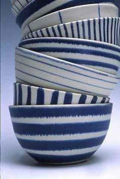 Blue and white ceramics from British potter, Sue Binns