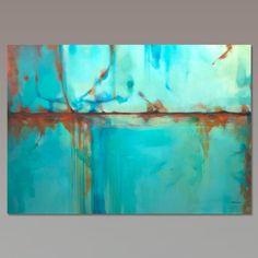 Gran turquesa azul verde y naranja abstracto pintura por Artoosh                                                                                                                                                                                 Más