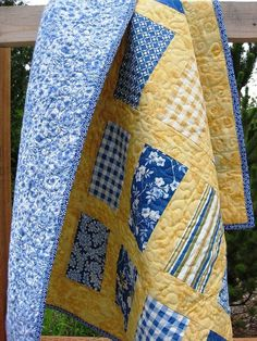 Yellow and blue quilt: