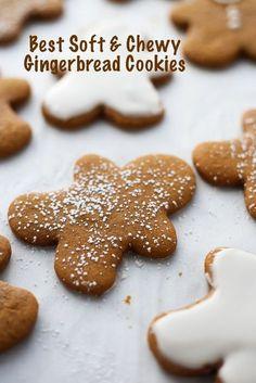 holiday cookies Gingerbread Cookies Brownie Cookies Best Soft and Chewy Gingerbread Cookies - 3 Scoops of Sugar Köstliche Desserts, Holiday Desserts, Holiday Baking, Holiday Recipes, Delicious Desserts, Easy Christmas Baking Recipes, Healthy Christmas Treats, Plated Desserts, Chewy Gingerbread Cookies