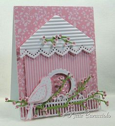 Birdhouse Card.  Use your scoring board for the texture if you don't have a paper crimper or corrugated card stock.