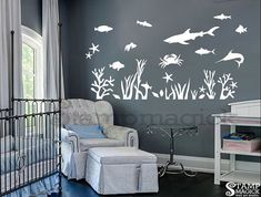 Under the Sea Wall Decal Fish Wall Decal Ocean by stampmagick