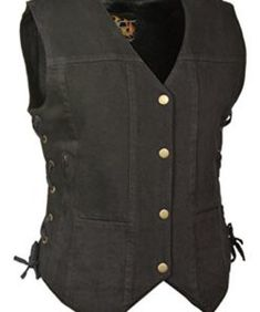 Milwaukee Mens Side Lace Vest with Buffalo Snaps Black, X-Large