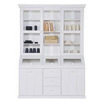 "LEF collections Cabinet ""Denver"" from pine, white, Denver, Home Living, Living Room Inspiration, Getting Organized, Pine, Bookcase, Shelves, Organization, Cabinet"
