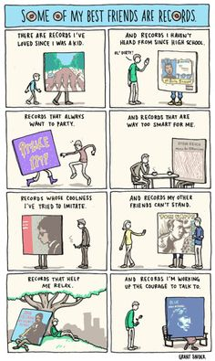 music, grant snider, record, friends, funni, vinyl, random, true, comics