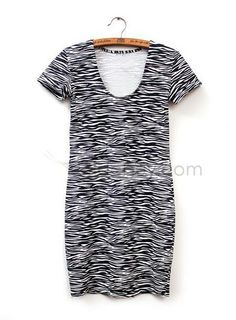 Sleeves, Dresses 2014 Latest Collection , $26.99, Best Quality Slim Short Sleeves Zebra-Striped Cotton Dress