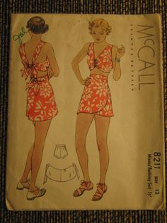 VINTAGE McCALL SEWING PATTERN 8211-1935 MISSES' BATHING SUIT-SIZE 12 BUST 30