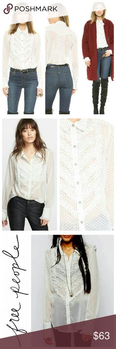 Free People Tuxedo Top Free People Polka Dot Tuxedo Blouse  Bib front blouse with all the ruffles and flourishes of a man's tuxedo shirt, in uber feminine semi sheer crepe with raw edged ruffles. Long sleeves with buttoned front & cuffs.  - NWOT/Tag cut Free People Tops Button Down Shirts