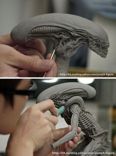 Sculpting the Dog Alien figure | Joseph Sang via fukubeetoe