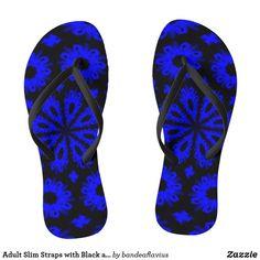 Shop Adult Slim Straps with Black and Blue Design Flip Flops created by bandeaflavius. Flip Flop Sandals, Flip Flops, Blue Abstract, Blue Design, Pairs, Slim, Men, Shoes, Black