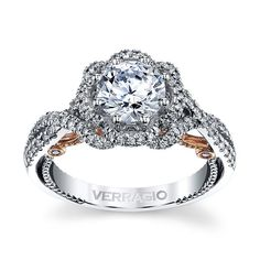 18K Two Tone Diamond Engagement Ring Setting 1/2 cttw by Verragio