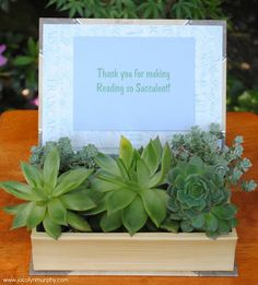 Thanks for making reading so succulent...cute gift for the librarian