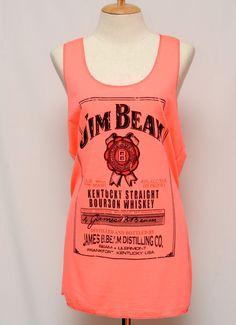 Jim Beam Whiskey Black tank top Tunic Unisex Shirt men Vest Women Sleeveless Singlet T-Shirt Size L