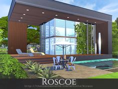 Roscoe is a contemporary home for a small sim family. Found in TSR Category 'Sim. Roscoe is a contemporary home for a small sim family. Found in TSR Category 'Sims 4 Residential Lots'Helle Küche mit viel Holz Sims 4 Modern House, Sims 4 House Design, Sims 4 House Building, Home Building Design, Sims 4 Loft, Sims 3, Sims 4 Penthouse, Sims 4 Cc Furniture Living Rooms, Lotes The Sims 4