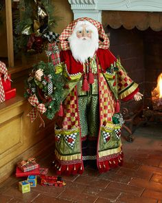 This holiday Santa is outfitted in Orchard Check, red, and green & holds a festive wreath! Days To Christmas, Father Christmas, Christmas Crafts, Christmas Decorations, Christmas Design, Christmas Ideas, Merry Christmas, Christmas Ornaments, Santa Outfit