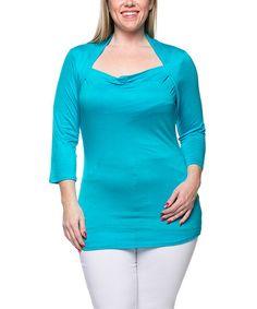 Look at this #zulilyfind! Blue Drape-Neck Top - Plus by Celeste #zulilyfinds
