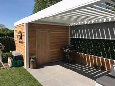 Lamellen terrasoverkapping Garage Doors, Outdoor Decor, Home Decor, Decoration Home, Room Decor, Home Interior Design, Carriage Doors, Home Decoration, Interior Design