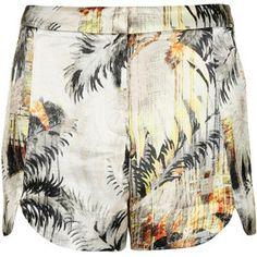 TOPSHOP Petite Lux Palm Print Scallop Shorts